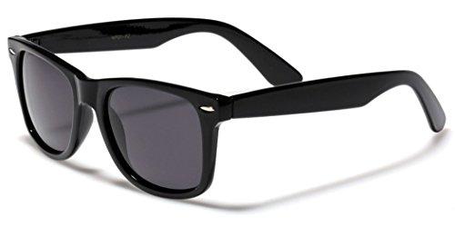 Boolavard® Nerd Sonnenbrille im Wayfarer Stil Retro Vintage Unisex Brille - 45 Modelle wählbar (Schwarz Tönung)