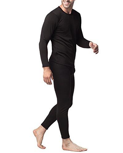 Lapasa Herren Innenfleece Thermounterwäsche Set Thermounterhemden Thermo-Unterhosen Ski Funktionsunterwäsche Skiunterwäsche für Winter M11 verdickte schwarz set