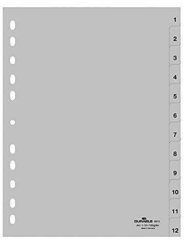 nregister (A4, geprägte Taben 1-12, PP volldeckend) 25 Stück, grau ()