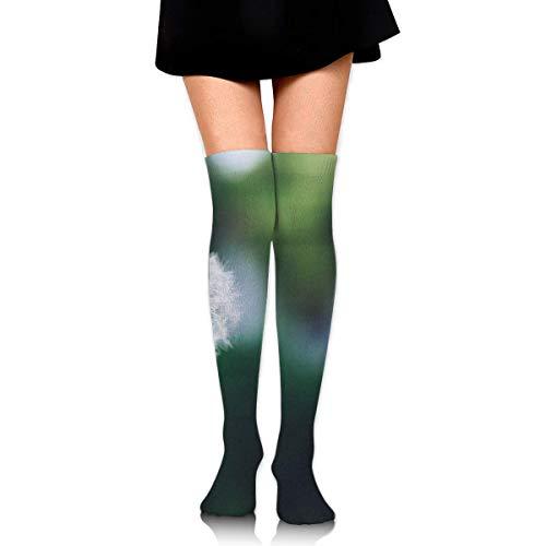 Bloom-Blossom-Dandelion Long Full-Length Socks - Running, Sports, Travel, Cycling, Traveling 25.6 Inchs Black -