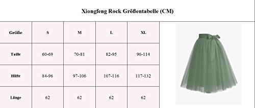 Xiongfeng® Damen 4 Layer Tüll Knielang Tüllrock Tutu rock Unterrock mit Gürtel Lila