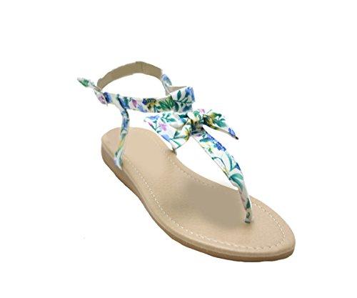 Justglam - Sandalias De Mujer Zapatos Chanclas De Piel Sintética Y Tela Azul De Tacón Bajo