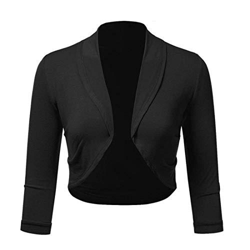 Free Ostrich Plus Size 5XL Women Cropped Jacket Short Bolero Shrug Solid Open Stitch Ladies Slim Coats Outerwear N30 Black M