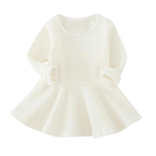 en Candy Farbe Langarm Solide Prinzessin Kleid Casual Kleinkind Kinder Swing Mini Kleid(6-12 Monate,A-Weiß) (Kleinkind Kostüm Candy)