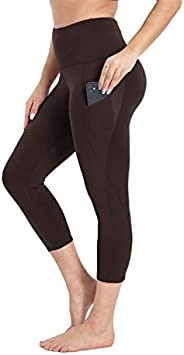 HIGHDAYS Yoga Pants for Women with Pocket - High Waist Workout Shorts for Biker, Capri Leggings for Workout Ru