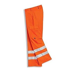Uvex 8894 Pantalon de Trabajo – Pantalón con 2 Cintas de Alta Visibilidad y Reflectante, EN ISO 20471 Clase 2, Naranja