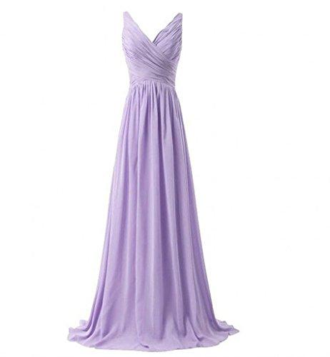 Milano Bride Einfach V-ausschnitt Zwei-traeger Abendkleider Partykleider Brautjungfernkleider Lang A-linie Rock Lilac