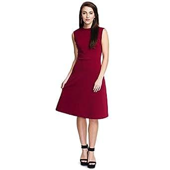 Addyvero Women's Cotton A-Line Dress (CL-WM-U0370-S _Amaranth Purple_ Small)