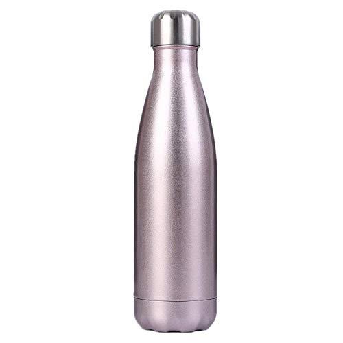 XLLX Trinkflasche Edelstahl Wasserflasche, Vakuum-Isolierte BPA-frei auslaufsicher Thermosflasche, 24 Std Kühlen & 12 Std Warmhalten@Roségold_500ml