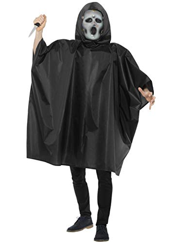 en Männer Kostüm Scream Horror Geist Poncho mit Maske und Messer, Ghost Cape with Mask and Knife, perfekt für Halloween Karneval und Fasching, One Size, Schwarz ()