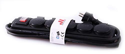 JL Multiprise de jardin 5voies, boîtier étanchepour une utilisation en extérieur, classe de protection IP44-Câble H07RN-F 3G1,5de 1,4m, certificat de sécurité TÜV avec label GS