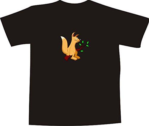 T-Shirt E762 Schönes T-Shirt mit farbigem Brustaufdruck - Logo / Grafik - Comic Design - lustiger Fuschs sitzt auf einem Ast im Wald Mehrfarbig