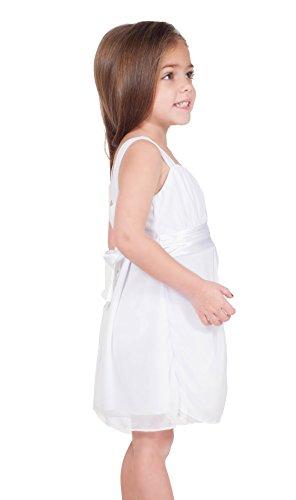 Kinder Kleid Chiffon ärmellos mit Strass Brosche und Empire Taille knielang Schneeweiss