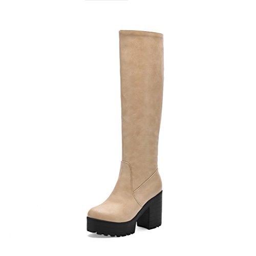 VogueZone009 Damen Reißverschluss Niedriger Absatz Hoch-Spitze Stiefel mit Metallisch, Cremefarben, 38