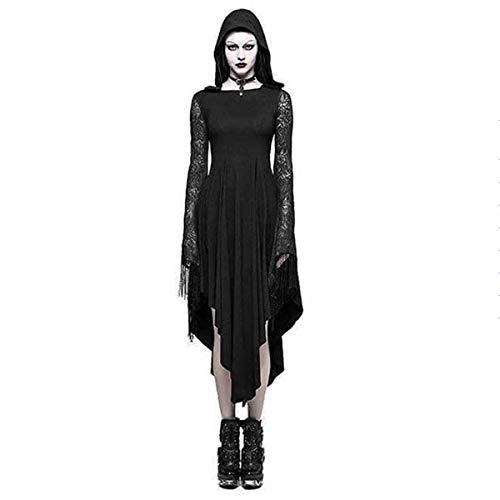 Wefchogvr Mit Kapuze Spitze Unregelmäßiges reizvolles rückenfreies langes Hülsenkleid der Frau Halloween-Kostüm (Color : Black, Size : S)