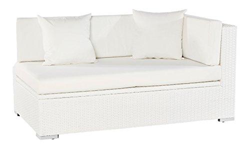 Outflexx 2-Sitzer Ecksofa, Armlehne links, inklusive Polster, box funktion, Polyrattan, Weiß, 145 x 85 x 70 cm