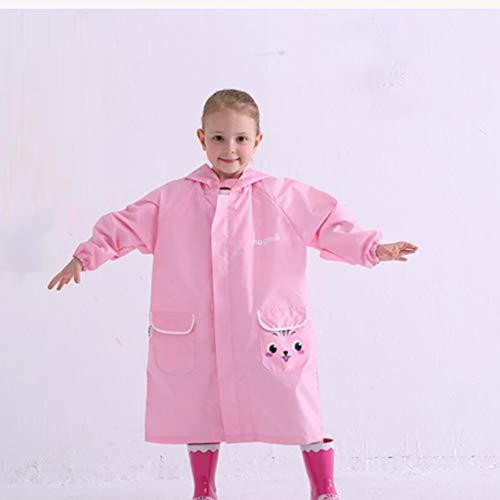Asnvvbhz Regenponcho Cartoon Regenmantel Kinder Poncho Teens Regenbekleidung mit Schultasche Abdeckung (Color : Pink, Size : M)