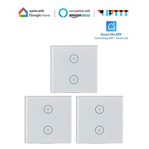 Intelligenter Lichtschalter 3 Wege Lichtsteuerung von überall WiFi Inwall Switch mit Timer Einfache In-Wall Installation Kompatibel mit Alexa Google Assistant IFTTT Zhhlaixing