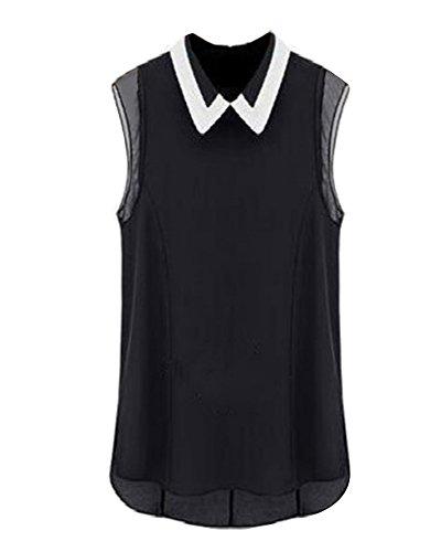 Blouse Chemise Femme Mousseline De Soie Chemisier Haut T Shirt Sans Manche Noir