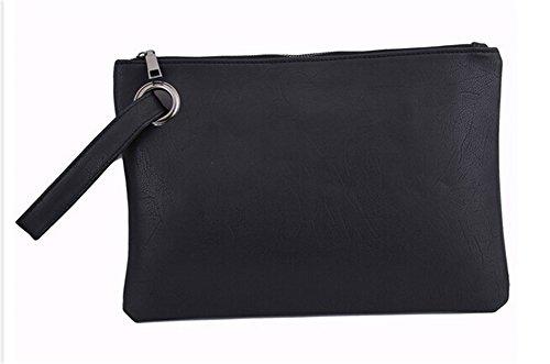 ODN Frauen Schwarz Umschlag Clutch Tasche PU Leder Frauen Clutch Tasche weiblich Clutches Handtasche (Schwarzes Leder-umschlag)