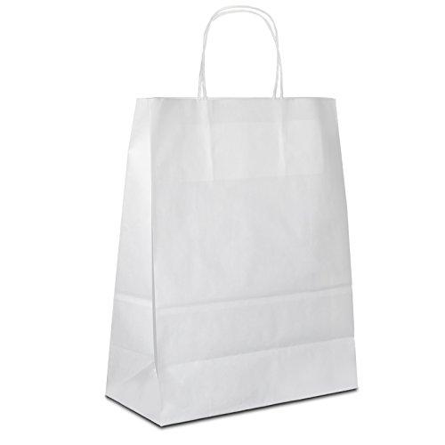 100 x Papiertaschen weiss 18+08x22 cm | stabile Papiertüten | Papiertragetaschen Kordelhenkel | Tragetaschen Papier klein | Beutel | HUTNER
