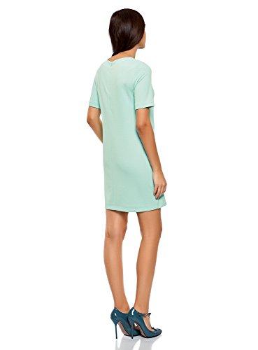 oodji Collection Damen Gerades Jersey-Kleid Türkis (7300N)