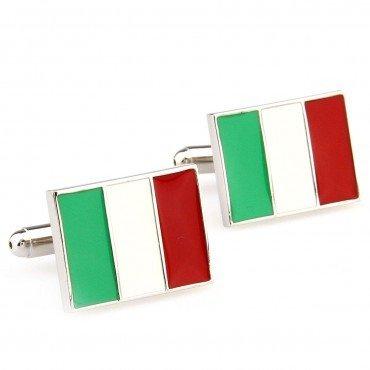 SCORPIUS GIFTSTema ' bandiera italiana ' Il Tricolore in acciaio inox Gemelli in sacchetto libero (Polsino Del Papà Gemelli)