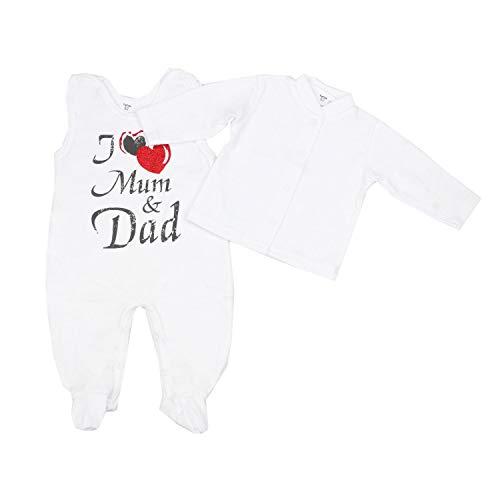 TupTam Unisex Baby Strampler-Set mit Aufdruck Spruch 2-tlg, Farbe: I Love Mum and Dad, Größe: 56