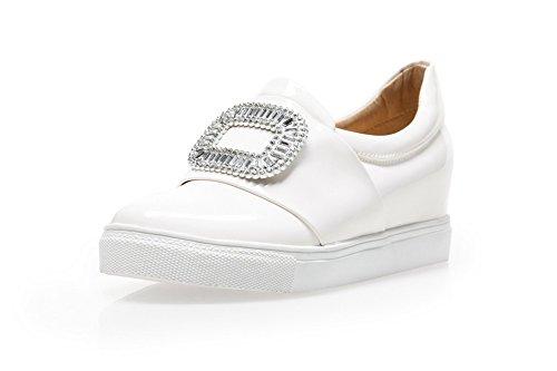 AllhqFashion Femme Tire Fermeture D'Orteil Rond à Talon Correct Couleur Unie Chaussures Légeres Blanc