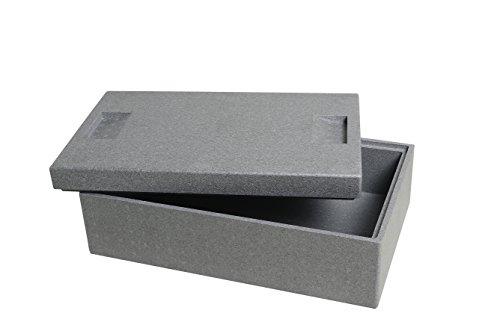 CLIMAPOR Thermobox klein aus Styropor, grau - Volumen: 54,5 x 35 x 18 cm (16,5 Liter) - Wandstärke: 2 cm