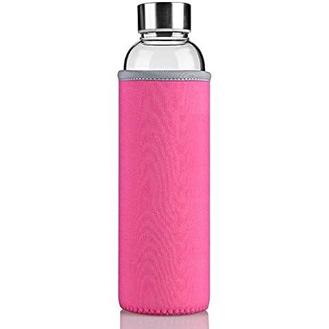 NYKKOLA Glass Water Bottle Non Slip Pink Nylon Sleeve Borosilicate Glass Construction, BPA Free