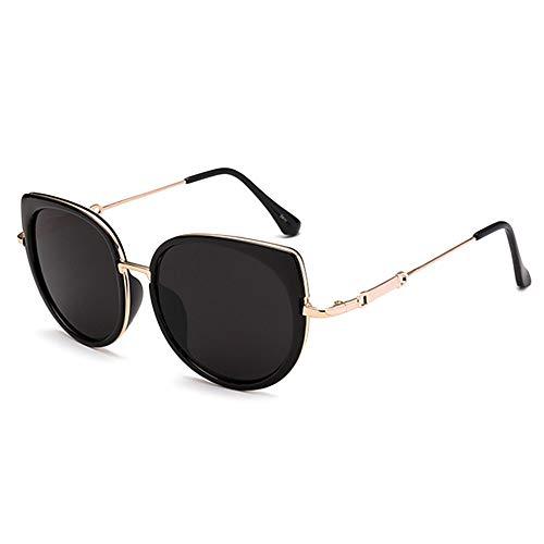 Fjiujin,Erschwingliche, polarisierte Sonnenbrille aus Metall mit Vollrand Cat Eye(Color:SCHWARZ)