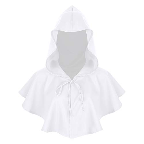 Agoky Unisex Kapuzen Umhang kurz Cape Mantel Gothic Teufel Gruselig Halloween Kostüm Zubehör Weiß One Size