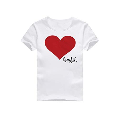 Dasongff Familie Kleidung Herz Kurzarmshirt Damen Mama Tochter Shirts Mutter Kind in Versch Farben Eltern Kind T-Shirts Tops Lose Kurzarmshirt -