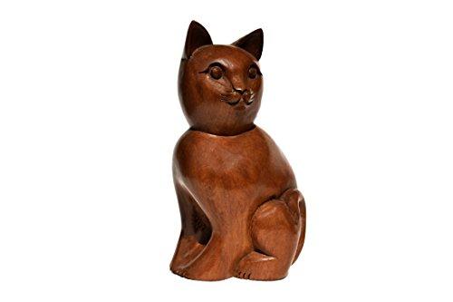 Scultura di gatto gatto di boulevarte | statuetta in legno del gatto | scultura in legno di alta qualità | cast di statua in legno di noce intagliato a mano | lunghezza: 14 cm larghezza: 14 cm altezza: 30 cm peso: 1780 g