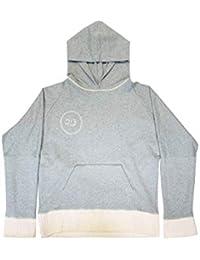 Olubiyi Thomas - Felpa Reversibile con Cappuccio e Retro in Stile Kimono, Logo Ricamato, Taglia M (Cotone, Grigio)