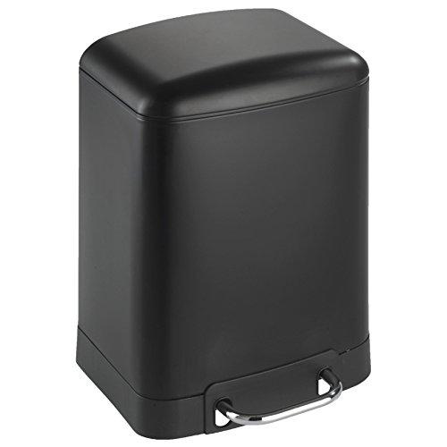WENKO 21767100 Treteimer Studio Easy-Close 6 Liter - Absenkautomatik, Fassungsvermögen 6 L, Stahl, 23 x 32 x 22.5 cm, Schwarz