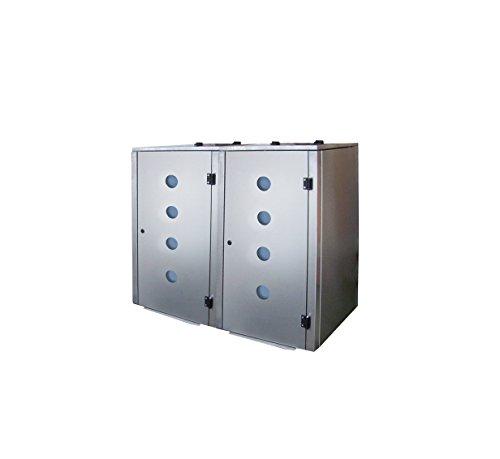 Mülltonnenbox Edelstahl, Modell Eleganza Circ, 240 Liter als Zweierbox