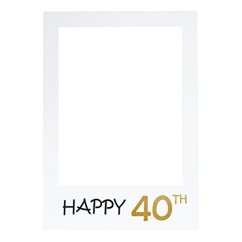 LUOEM Happy 40th Birthday Anniversary Picture Selfie Frame Ritagli Photo Booth Props per la festa di anniversario di compleanno di compleanno