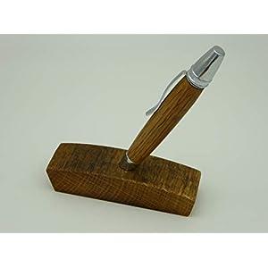 Kugelschreiber aus einem Whisky Fass Eiche Holz handgedrechselt Edelholz mit Halter