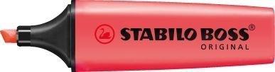 Rouge Lot de 3 surligneurs fluorescents Stabilo Boss avec encre à base d'eau