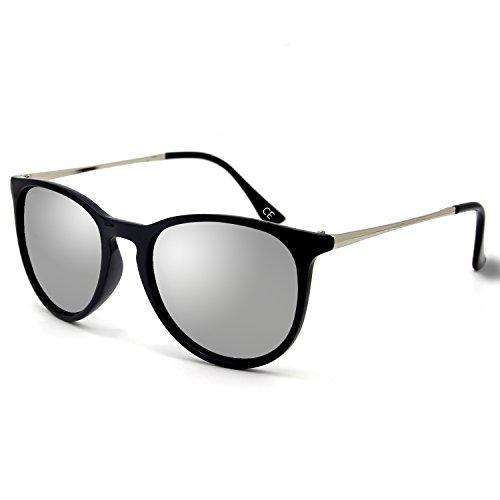 d61d51824c BLEVET Polarized UV400 Gafas de sol Vintage para hombres y mujeres BE001  (Silver)