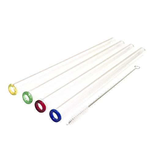 Homiu Glasstrohhalme mit farbigen Spitzen 4er Pack handgefertigt klar gerade 23 x 1 Zentimeter mit Reinigungsbürste Premium wiederverwendbar und umweltfreundlich