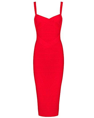 Whoinshop Frauen Rayon Strap Mittelkurz-Abend-Partei-Verband-Abendkleid rot L -