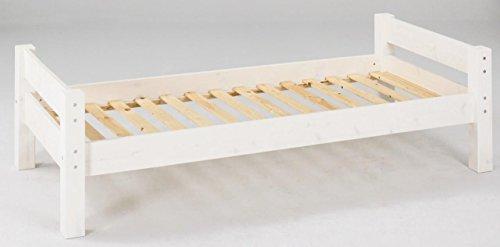 Dolphin Furniture Einzelbett Kinderbett Moby Kiefer massiv,, Farbton:Weiß