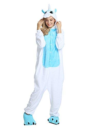 Kostüme 2 Halloween Frauen (LATH.PIN Tier Pyjama Einhorn Kostüm Karton Tierkostüme Halloween Kostüme Jumpsuit Erwachsene Schlafanzug Unisex Cosplay- Gr, S(Höhe142-155CM), Einhorn)