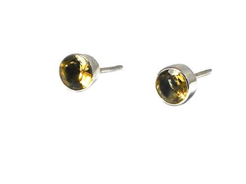 affumicato rotondo in argento Sterling 925pietra preziosa (Pietra Amethyst Silver Ring)