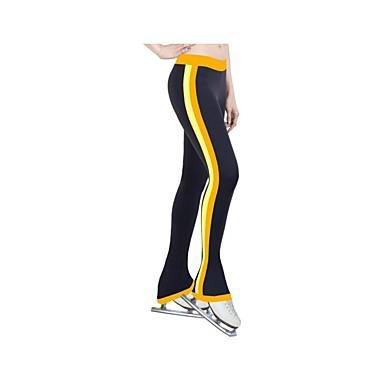 TT&Dress Über die Schlittschuhe reichende Strumpfhosen fürs Eiskunstlaufen Damen Mädchen Eiskunstlaufkleider Gelb Rot Blau Dehnbar Streifen, Yellow, 155