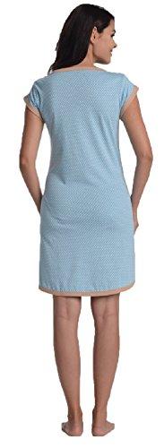 Di Vadini Umstandsnachthemd / Still-Nachthemd FRANCA aus 100% Baumwolle / kurzarm Himmelblau