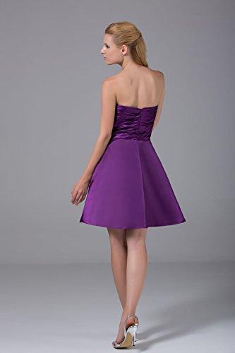 Bridal_Mall Damen 2015 Neu ohne Traeger Cocktailkleider Kurz Falten Satin Ball Abendkleider Weiß